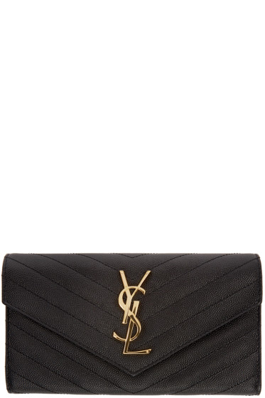 Saint Laurent - Black Quilted Large Flap Monogram Wallet