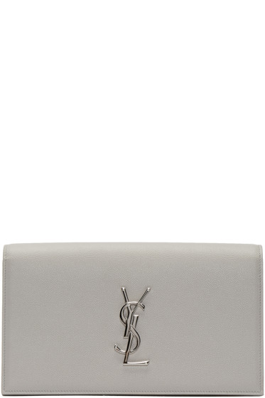 Saint Laurent - Grey Monogram Envelope Clutch
