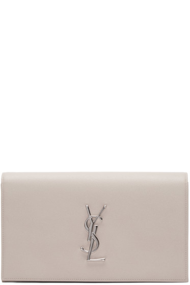 Saint Laurent - Pink Monogram Envelope Clutch