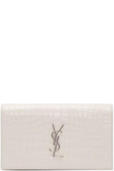 Saint Laurent - White Croc-Embossed Monogram Clutch