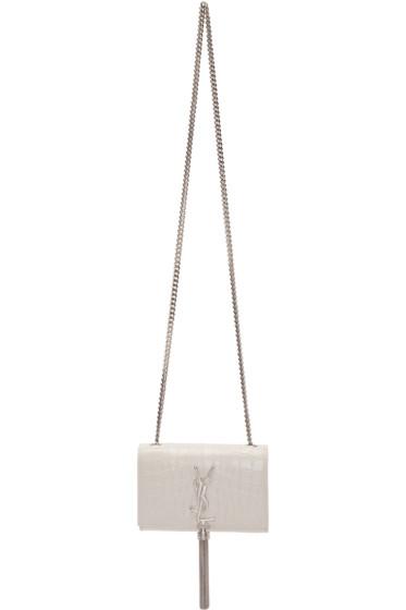 Saint Laurent - White Croc-Embossed Small Monogram Tassel Bag