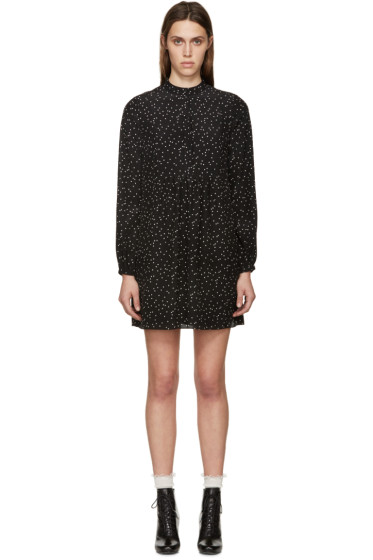 Saint Laurent - Black Dot Print Silk Dress