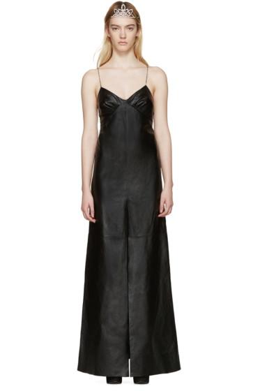 Saint Laurent - Black Long Leather Dress