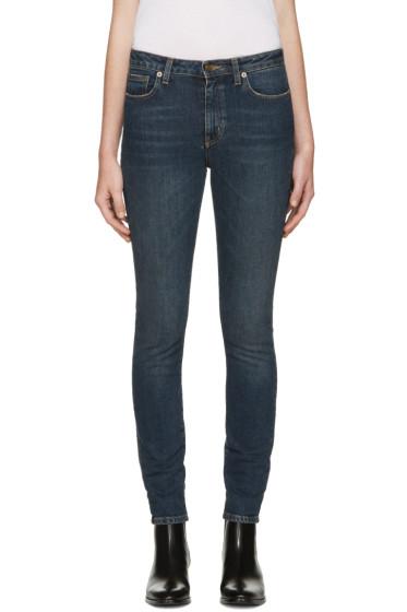 Saint Laurent - Blue Cropped Skinny Jeans
