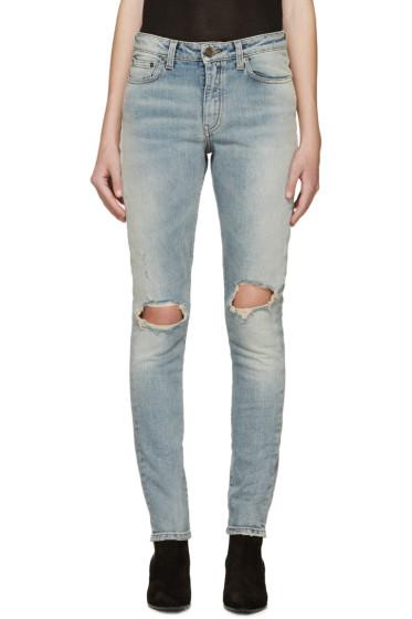 Saint Laurent - Blue Distressed Skinny Jeans