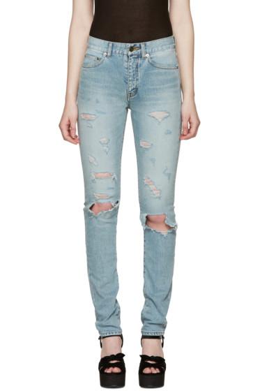 Saint Laurent - Blue Destroyed Skinny Jeans