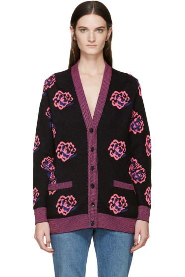Saint Laurent - Black & Pink Wool Rose Cardigan
