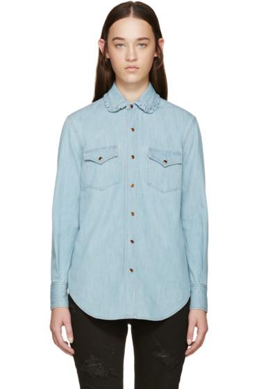 Saint Laurent - Blue Ruffled Collar Denim Shirt