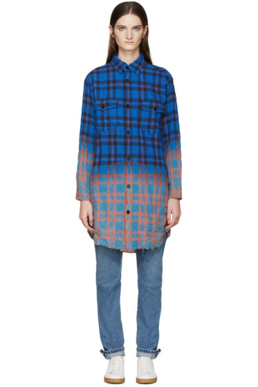 Saint Laurent - Blue Panelled Plaid Shirt