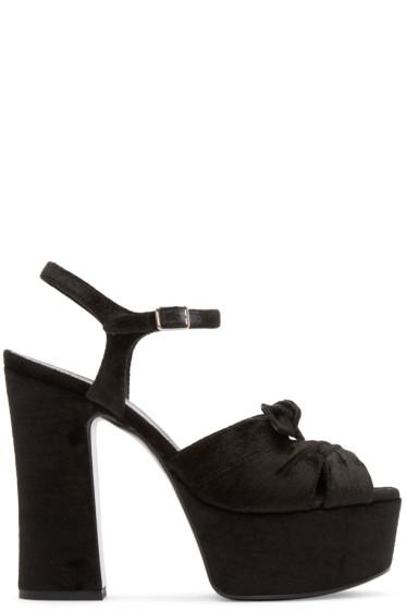 Saint Laurent - Black Velour Candy Sandals