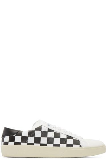 Saint Laurent - White & Black Check Court Classic SL/06 Sneakers