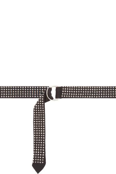 Saint Laurent - Black & Silver Studded Cravatte Belt