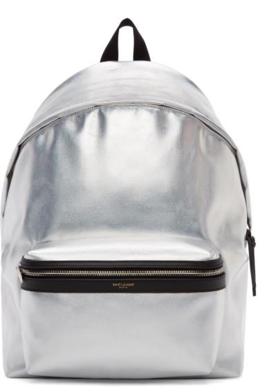 Saint Laurent - Silver Metallic Hunting Backpack