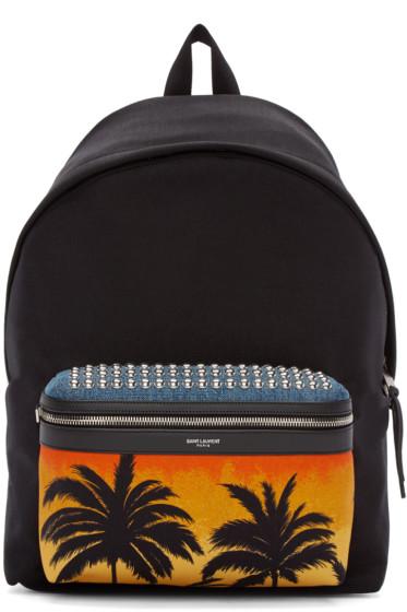 Saint Laurent - Black Canvas Palm Tree Backpack