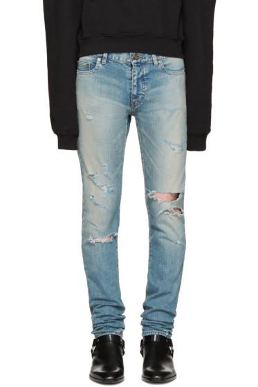 Saint Laurent - Blue Skinny Destroyed Jeans