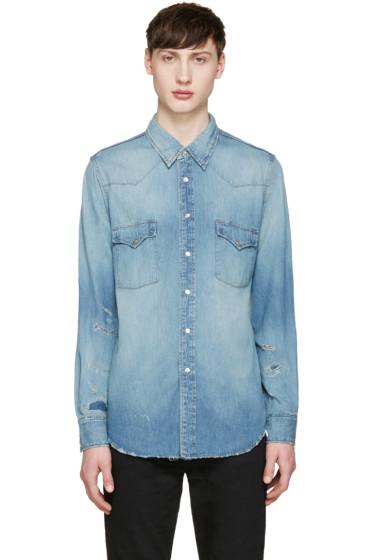 Saint Laurent - Blue Denim Destroyed Shirt
