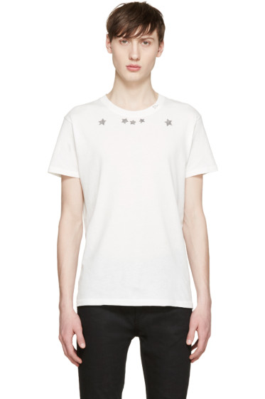 Saint Laurent - White Stars & Logo T-Shirt