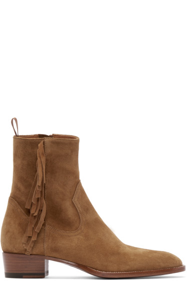 Saint Laurent - Tan Fringed Hedi Boots