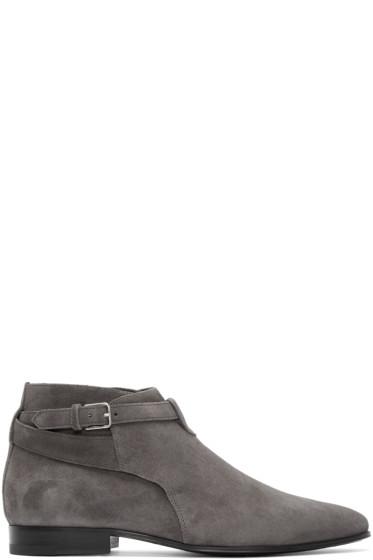 Saint Laurent - Grey Suede London Boots