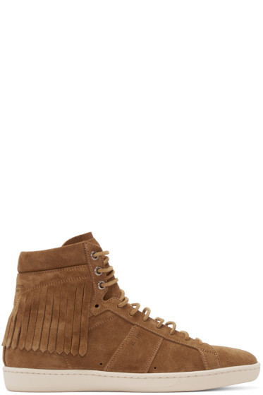Saint Laurent - Tan Fringed Court Classic High-Top Sneakers