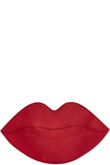 Charlotte Olympia - Red Satin Big Kiss Clutch