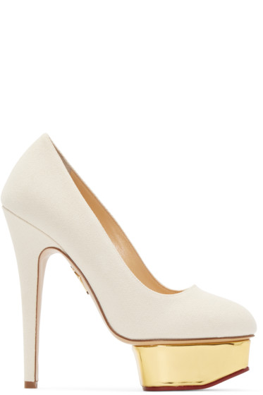 Charlotte Olympia - Off-White Canvas Dolly Heels
