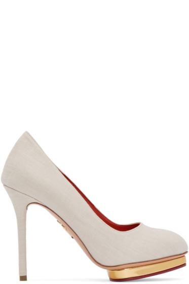 Charlotte Olympia - Beige Linen Dotty Heels