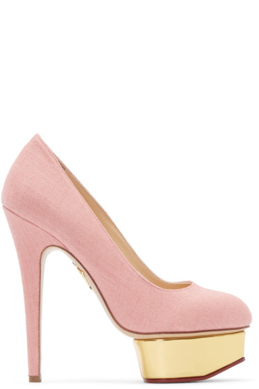 Charlotte Olympia - Pink Linen Dolly Heels