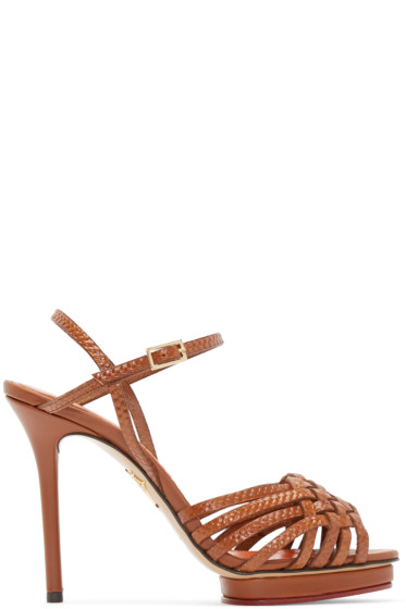 Charlotte Olympia - Tan Leather Louise Sandals