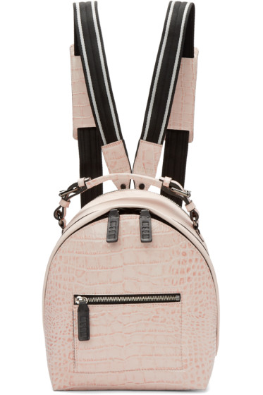 MSGM - Pink Croc-Embossed Small Backpack