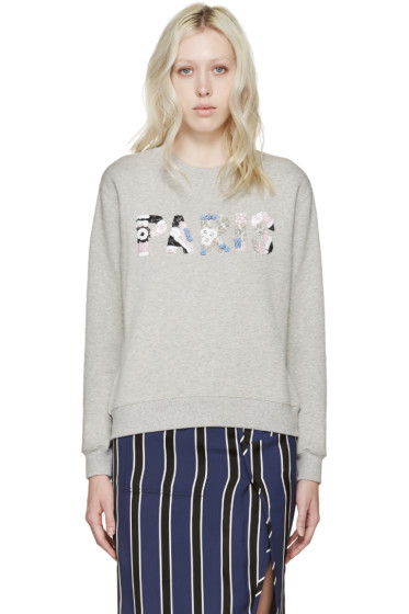 MSGM - Grey Embellished Paris Pullover