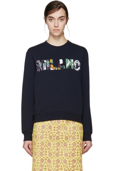 MSGM - Navy Embellished 'Milano' Sweatshirt