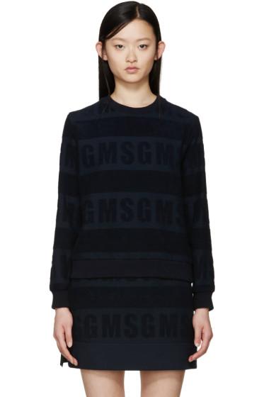 MSGM - Navy Logo Terrycloth Sweatshirt