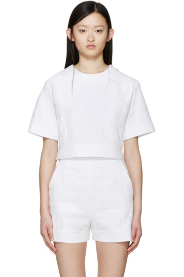 MSGM - White Logo Terrycloth Sweatshirt