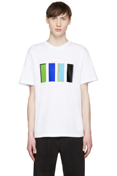 MSGM - White Geometric T-Shirt