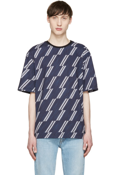 MSGM - Navy & Grey Striped T-Shirt