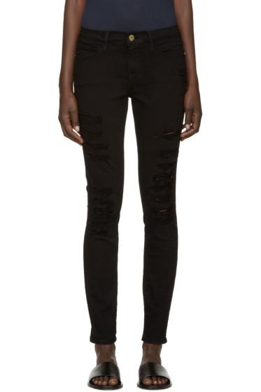 Frame Denim - Black Ripped Le Skinny de Jeanne Jeans