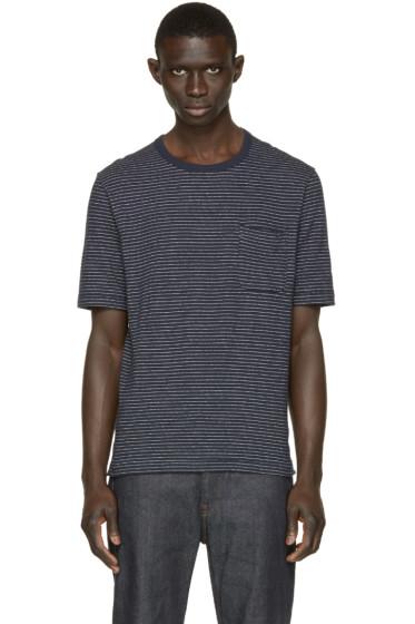 Nanamica - Navy Dotted Stripe T-Shirt