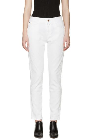 Stella McCartney - White Fringed Star Skinny Boyfriend Jeans
