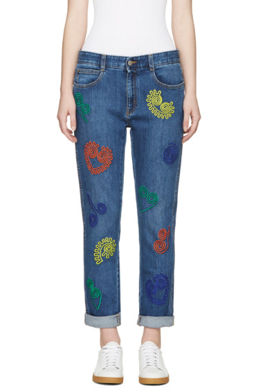 Stella McCartney - Blue Embroidered Skinny Boyfriend Jeans