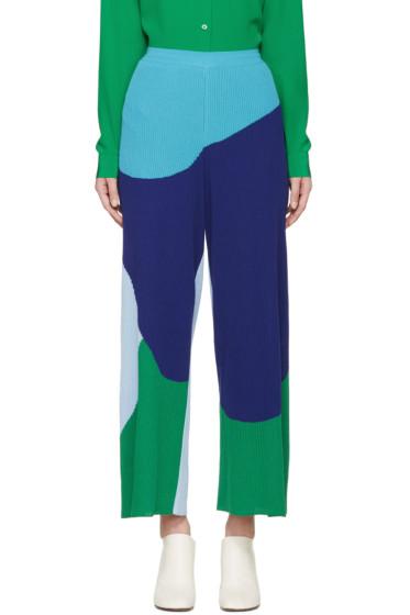 Stella McCartney - Blue & Green Rib Knit Trousers