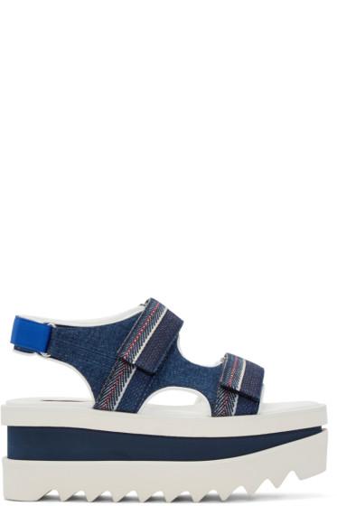 Stella McCartney - Navy Denim Velcro Platform Sandals