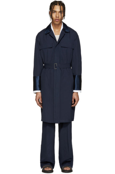 Umit Benan - Navy Cotton Lightweight Trench Coat