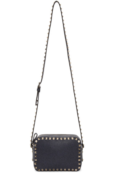 Valentino - Navy Leather Rockstud Camera Bag