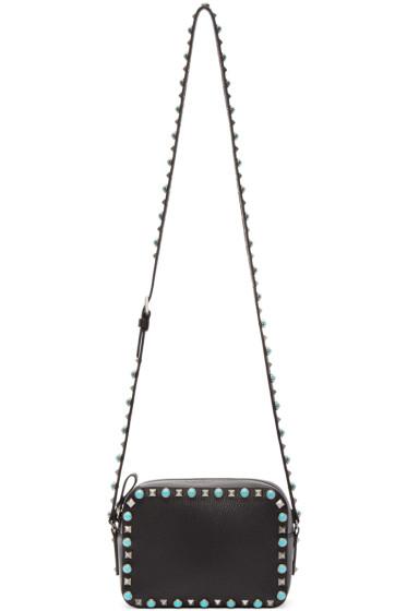 Valentino - Black Leather Stone & Rockstud Camera Bag