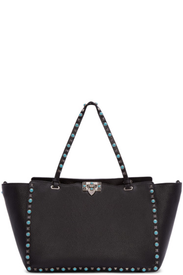 Valentino - Black Medium Stone & Rockstud Lock Tote