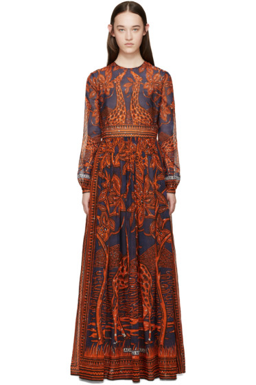 Valentino - Navy & Orange Giraffe Dress