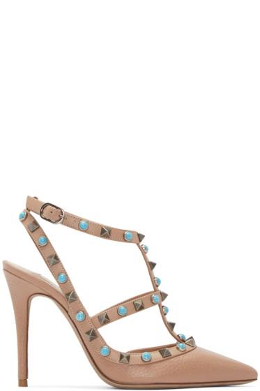 Valentino - Brown Stone & Rockstud Cage Heels