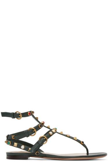 Valentino - Green Stone & Rockstud Sandals