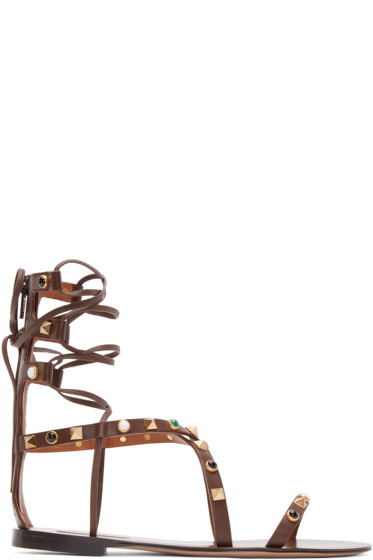 Valentino - Brown Stone & Rockstud Gladiator Sandals